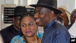 L'ex-président du Nigeria Goodluck Jonathan et son épouse Patience, le 19 avril 2011.