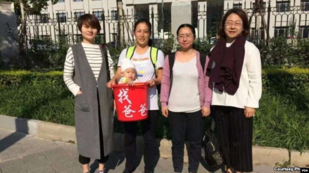 709案家属(右起)王峭岭、陈桂秋、原姗姗和李文足(网络图片)