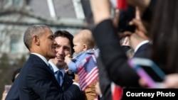 奥巴马总统2016年3月10号在白宫举行的欢迎加拿大总理访问仪式上(白宫)