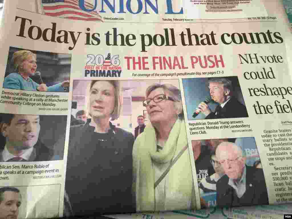 Front page of Manchester Union Leader newspaper in Manchester, New Hampshire, Feb. 9, 2016. (Photo: K. Gypson / VOA)
