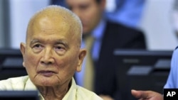 Nuon Chea, former deputy secretary of the Communist Party of Kampuchea, looks on during a joint hearing with other top Khmer Rouge leaders, Khieu Samphan, former head of state, and Ieng Thirith, former social affairs minister, at the court hall of the U.N