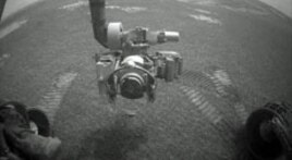 NASA's Opportunity rover used its front hazard-identification camera to obtain this image at the end of a drive on the rover's 1,271st sol, or Martian day (Aug. 21, 2007).