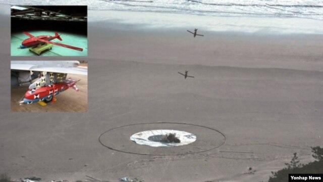 한국 국방과학연구소가 독자기술로 개발한 `중거리GPS유도키트' 시험장. 왼쪽 위 작은 사진은 시험발사를 위해 F-5 전투기에 장착된 중거리 GPS유도키트, 아래 작은 사진은 발사 이후 태양열에 어떤 영향을 받는지 알아보는 시험.