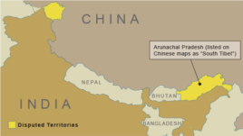 Disputed territories between China and India
