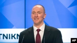 FILE - Carter Page, a former foreign policy adviser to U.S. President-elect Donald Trump, speaks at a news conference at RIA Novosti news agency in Moscow, Russia, Dec. 12, 2016. Page's ties to Russian officials are currently under investigation.