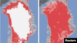 Las fotos de la NASA revelan que casi la totalidad de la capa de hielo de Groenlandia (en blanco) desapareció en sólo cuatro días.