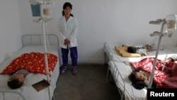 지난 2011년 10월 북한 황해남도 해주 시 병원에 어린이들이 영양실조로 입원했다. (자료사진)