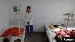 지난 2011년 10월 북한 황해남도 해주의 한 병원에 어린이들이 영양실조로 입원해 있다. (자료사진)