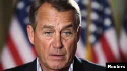 U.S. House Speaker John Boehner (R-OH) speaks to the media outside his office on Capitol Hill in Washington, Dec. 7, 2012.