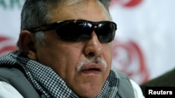 Colombia's Marxist FARC Jesus Santrich speaks during a news conference in Bogota, Nov. 16, 2017.