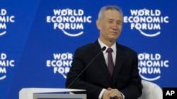 中共中央政治局委员、中央财经领导小组办公室主任刘鹤2018年1月24日在瑞士达沃斯经济论坛上。