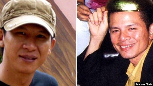 Nhạc sĩ Việt Khang (trái) bị kết án 4 năm tù giam và 2 năm quản chế trong khi ông Trần Vũ Anh Bình, 37 tuổi, bị mức án 6 năm tù giam và 2 năm quản chế