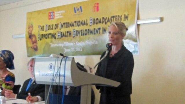 Governor Dana Perino addresses town hall in Abuja, Nigeria. June 27, 2011