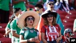 Des fans de l'équipe mexicaine de football lors d'un match de la Copa Amaricain au stade Levi, à Santa Clara, Califonie, 18 juin 2016.