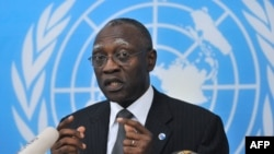 General Babacar Gaye, the UN secretary-general's representative to Central African Republic, speaks on Feb. 6, 2014, at UN headquarters in Bangui.