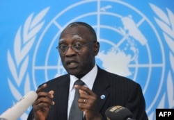 FILE - General Babacar Gaye, the U.N. secretary-general's representative to Central African Republic, speaks at the BINUCI (United Nations Integrated Peacebuilding Office in the Central African Republic) headquarters in Bangui, Feb. 6, 2014.