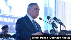 پاکستان سپریم کورٹ کے چیف جسٹس آصف سعید کھوسہ کراچی میں ایک تقریب میں تقریر کر رہے ہیں۔ 19 جولائی 2019