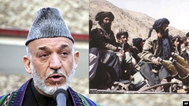 At left, Afghan President Hamid Karzai, Dec. 2011; Taliban fighters near Kabul, 1996 (file image).