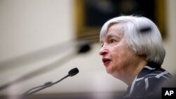 Gubernur Bank Sentral AS Janet Yellen dalam sidang Kongres (11/2).