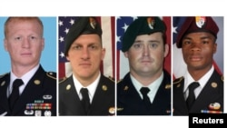 A combination photo of U.S. Army Special Forces Sergeant Jeremiah Johnson, left to right, U.S. Special Forces Sgt. Bryan Black, U.S. Special Forces Sgt. Dustin Wright and U.S. Special Forces Sgt. La David Johnson killed in Niger, West Africa, Oct. 4, 2017, in these handout photos released Oct. 18, 2017.
