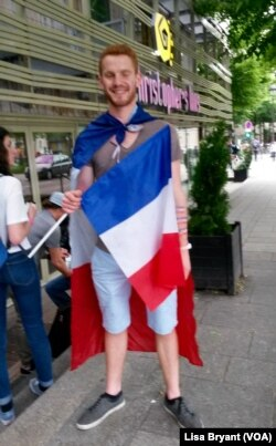 Parisian Romeo Equipart, a diehard French fan, in front of Belushi's sports bar in Paris, June 10, 2016.
