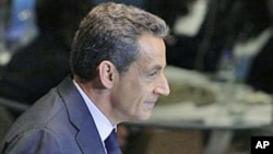 French President Nicolas Sarkozy makes a point during his address to the 66th United Nations General Assembly at U.N. headquarters in New York, September 21, 2011.