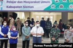Kunjungan Luhut Binsar Pandjaitan ke Yogyakarta (6/8) untuk mendorong peningkatan vaksinasi. (Foto: Courtesy/Humas Pemda DIY)