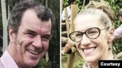 Pasangan suami-istri, Matt O'Kane dan Christa Avery dari Australia yang sempat dikenai tahanan rumah di Myanmar. Keduanya dibebaskan pada Minggu, 4 April 2021.