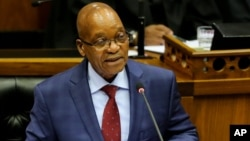 South African President Jacob Zuma, gives the State of the Nation address at Parliament in Cape Town, South Africa, June 17, 2014.