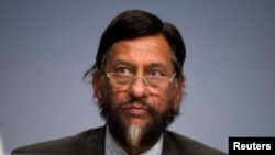 FILE - IPCC Working Group III Chairman Rajendra Pachauri attends a news conference.