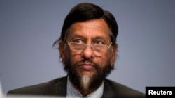 FILE - Former Head of the UN climate change panel Rajendra Pachauri. Indian police charged him with sexual harassment on March 1, 2016, following a complaint by a woman he worked with at an environmental research institution.
