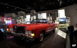 FILE - Chuck Berry's 1973 Cadillac Eldorado is on display at the National Museum of African American History and Culture in Washington, Sept. 14, 2016.