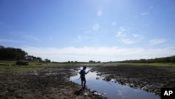 Cristopher Benegas, 12, fishes in what's left of the Payagua stream, a tributary of the Paraguay River, in Chaco I, Paraguay, early Friday, Aug. 27, 2021. (AP Photo/Jorge Saenz)