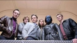 "Erik (Michael Fassbender), Banshee (Caleb Landry Jones), Charles (James McAvoy), Moira (Rose Byrne), Raven (Jennifer Lawrence), and Havok (Lucas Till) from ""X-Men: First Class"""