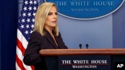 国土安全部长尼尔森星期三在白宫对记者讲话