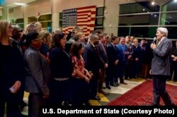 U.S. Secretary of State John Kerry addresses family members and staff at the U.S. Embassy in Kabul, Afghanistan, April 9, 2016.