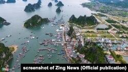 Cảng Cái Rồng, đảo Vân Đồn, tỉnh Quảng Ninh, nhìn từ trên cao