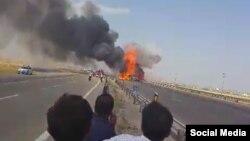 تصویری از انفجار که در شبکههای اجتماعی منتشر شده است.
