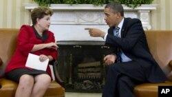 Los presidentes Dilma Rousseff de Brasil y Barack Obama de Estados Unidos, en la Casa Blanca, este lunes 9 de abril.