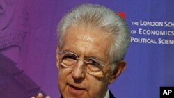 Italy's Prime Minister Mario Monti delivers a speech at the London School of Economics, Jan. 18, 2012.