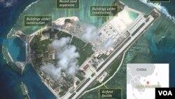남중국해 파라셀 군도의 우디섬을 상공에서 촬영한 위성사진. (자료사진)