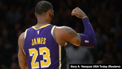 4ccc0e485fd Los Angeles Lakers forward LeBron James (23) reacts after scoring a basket  against the
