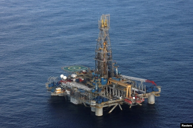 FILE - A view of the Homer Ferrington gas drilling rig, operated by Noble Energy and drilling in an offshore block on concession from the Cypriot government, in the east Mediterranean.