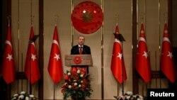 Presiden Turki, Recep Tayyip Erdogan di Istana Presiden, Ankara, 15 Juli 2018. (Foto: dok).