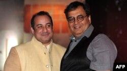 بھارتی فلم پروڈیوسر، ڈائریکٹر سبھاش گھئی اور پاکستانی گلوکار راحت فتح علی خان : فائل فوٹو