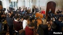 Kaci Kullmann Five, Présidente du comité Nobel, annonce le gagnant du Prix Nobel de la Paix 2015, à Oslo en Norvège le 9 octobre 2015. (Photo Reuters)