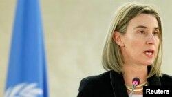 지난 3일 페데리카 모게리니 유럽연합 외교안보 고위대표가 스위스 제네바에서 열리고 있는 제 28차 유엔 인권이사회에서 연설하고 있다.