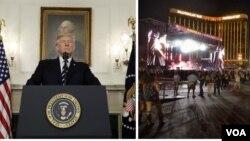 Tổng thống Donald Trump và quang cảnh vụ nổ súng tại Las Vegas.