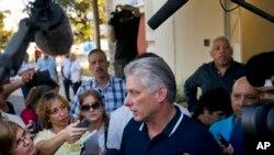 Chủ tịch Cuba Miguel Diaz-Canel phát biểu sau khi bỏ phiếu về Hiến pháp mới