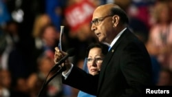 Khizr Khan, whose son, U.S. Army Capt. Humayun Khan, died in a 2004 car bombing in Iraq, challenges Republican presidential nominee Donald Trump's knowledge of the U.S. Constitution at the Democratic National Convention in Philadelphia,